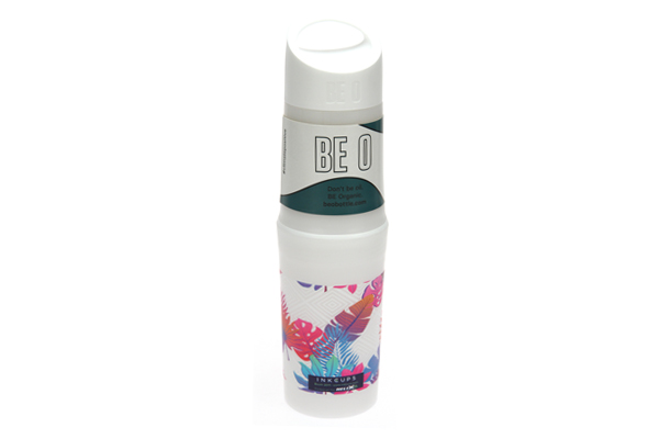 BE O bottle with all over UV print